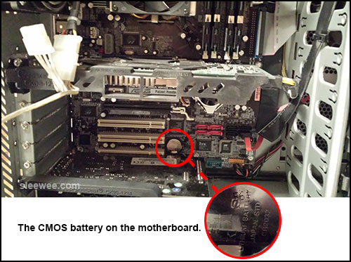 CMOS battery located on the motherboard of the PC