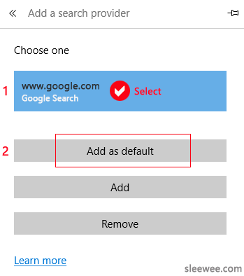 Edge browser choosing Google as the default search provider