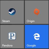 Google icon in the Windows 10 Start menu