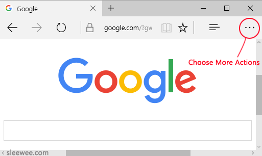 Microsoft Edge Browser Choose More Actions to change the default search provider