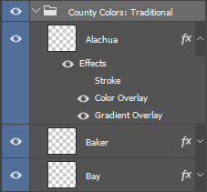 Photoshop with Florida County Layers