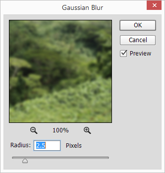 Photoshop Gaussian Blur of the replacement background