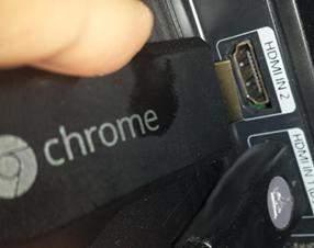 Plug Chromecast (or Chrome stick) into the HDMI port on your TV