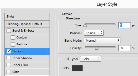 Photoshop Layer Style 1px stroke