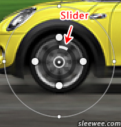 Adjustable spin blur slider for degrees
