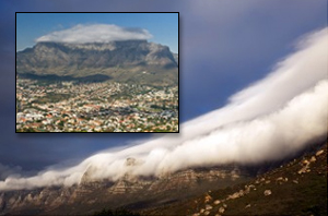 The tablecloth of Table Mountain, Cape Town, South Africa.
