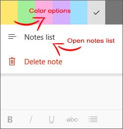 The sticky note colors with Notes List to display saved sticky notes.