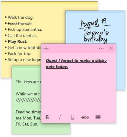 Microsoft Sticky Notes for Windows 10