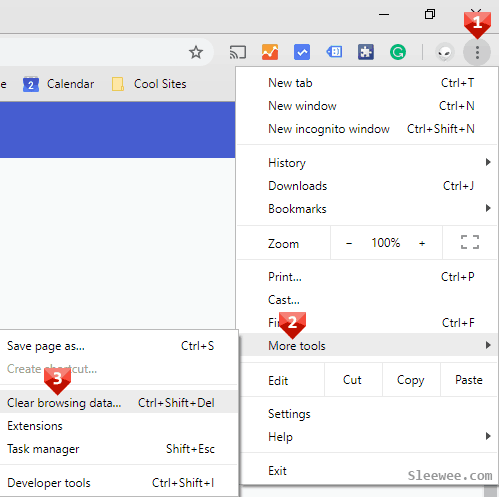 Clear Cache in Chrome - Clear browsing data
