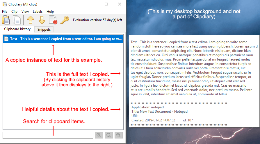 An example showing Clipdiary with once instance of text copied